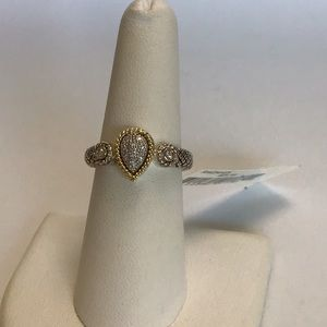 Andrea Candela Silver & 18K Gold Diamond Ring NWT